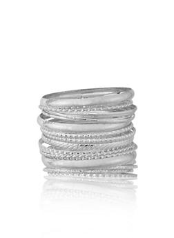 Plus Size Set of 13 Assorted Textured Bangles - 1194072691963