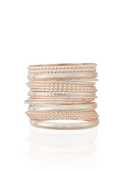 Plus Size Set of 18 Multi Textured Bangles - 1194072691966
