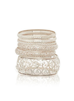 Multi Textured Laser Cut Bangle Set - 1194072691976