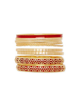 Plus Size Two Tone Assorted Bangle Set - 1194072692095