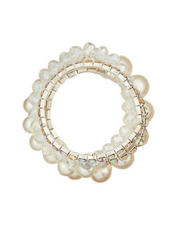 String Pearl and Rhinestone Bracelet Set - 1194072692139