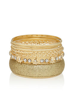Plus Size Set of 8 Assorted Bangles - 1194072692140