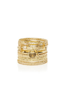 Multi Textured Bangles Set with Charms - 1194072692141