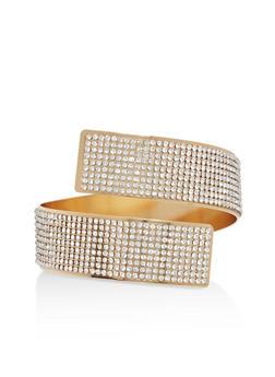 Spiral Rhinestone Cuff Bracelet - 1194072692651