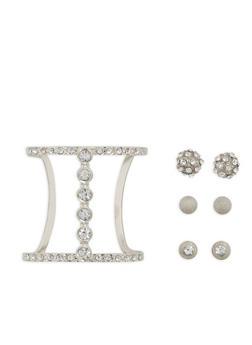 Rhinestone Cuff Bracelet with Set of 3 Stud Earrings - 1194072693161