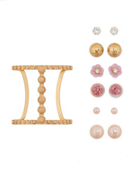 Studded Cuff Bracelet with Set of 3 Reversible Earrings - 1194072693184
