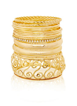 Plus Size Set of 13 Multi Textured and Rhinestone Bangles - 1194072695822