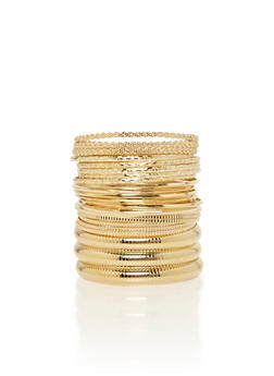 Plus Size Set of 25 Multi Textured Bangles - 1194072696222