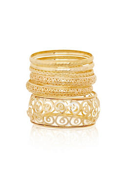 Plus Size Laser Cut and Multi Textured Bangles Set - 1194072696791