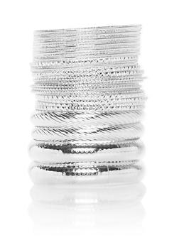 Plus Size Set of 25 Multi Textured Bangles - 1194072698322