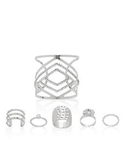 Metallic Cuff Bracelet with 5 Rings - 1194073843186