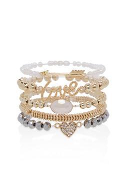 Set of 5 Beaded Stretch Bracelets - 1194074141091