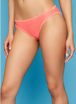 Hipster Bikini Bottoms with Contrast Crochet Trim - 1201055520185