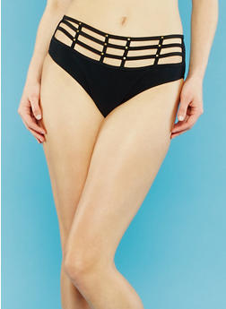 Caged High Waisted Bikini Bottoms - 1201060582982