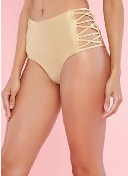 Gold High Waisted Caged Side Bikini Bottom - 1201060585726