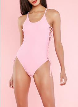 Lace Up Side One Piece Swimsuit - PINK - 1201072291820