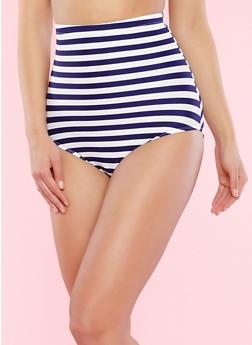 Striped High Waisted Bikini Bottom - 1201072291824