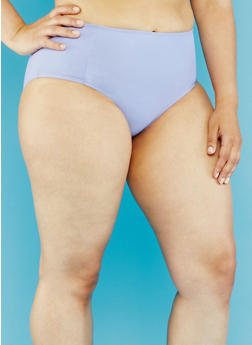 Plus Size High Waisted Bikini Bottoms - 1203055521611