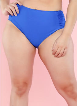 Plus Size Cobalt High Waisted Ruched Bikini Bottom - 1203060583674