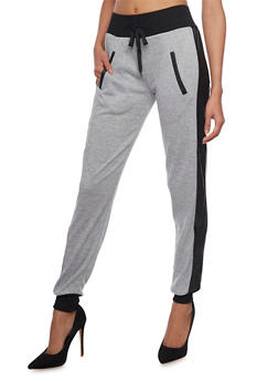 Marled Knit Joggers with Quilted Faux Leather Stripes - 1285072292400