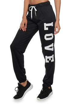 Drawstring Joggers with Love Patches - BLACK - 1285072293300