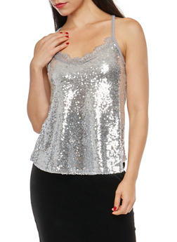 Sequined Cami Top with Lace Detail - 1300015994802