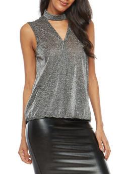 Glitter Stretch Knit Faux Wrap Top - 1300015997190
