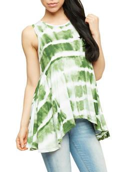 Sleeveless Tie Dye Tank Top with Sharkbite Hem - OLIVE - 1300038347274