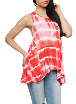 Sleeveless Tie Dye Tank Top with Sharkbite Hem - 1300038347274