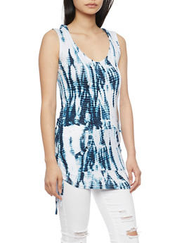 Tie Dye Sleeveless Hooded Tunic Top - 1300038347275