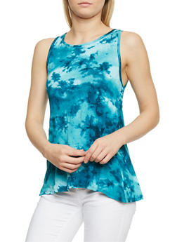 Sleeveless Tie Dye High Low Top - 1300038347276