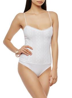 Sleeveless Lace Bodysuit - 1300054265873