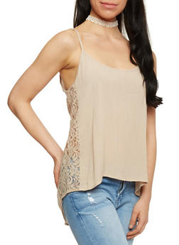 Sleeveless High Low Cami with Lace Sides - 1300054268509
