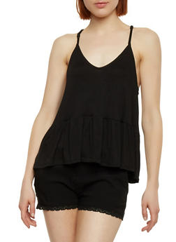Sleeveless Cami with Flounce Hem - 1300054269502