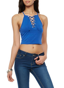 Lace Up Racerback Crop Top - 1300054269987