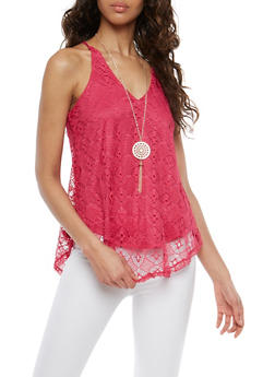 Crochet Tank Top with Necklace - 1300058750107