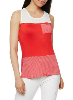 Color Block Tank Top with Stripe Panel Detail - 1300058756779
