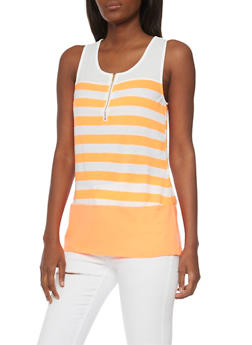 Striped Half Zip Front Tank Top - 1300058756780