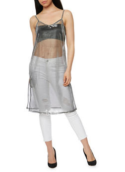 Sheer Metallic Mesh Sleeveless Top with Slit Sides - 1300058758115