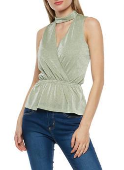 Shimmer Knit Keyhole Peplum Top - 1301015992840