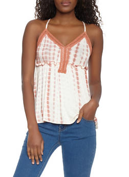 Tie Dye Crochet Detail Tank Top - 1301015993380