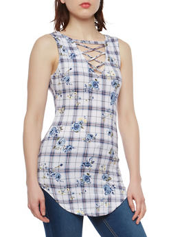 Printed Caged Keyhole Tunic Top - DUSTY BLUE - 1301015995133