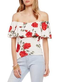 Floral Soft Knit Off the Shoulder Top - 1301015995397