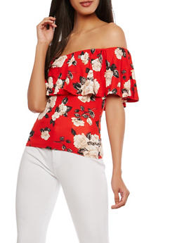 Floral Soft Knit Off the Shoulder Top - 1301015995397