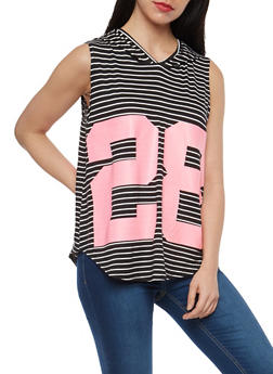Striped Graphic Sleeveless Hooded Top - 1301038342089