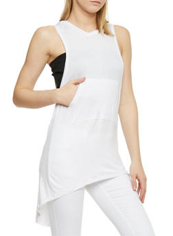 Sleeveless Hooded High Low Tunic Top - WHITE - 1301038347107