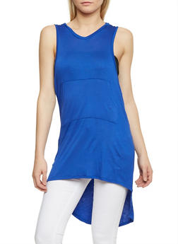 Sleeveless Hooded High Low Tunic Top - 1301038347107