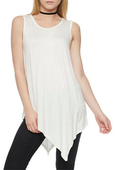 Solid Sleeveless Asymmetrical Tunic Top - IVORY - 1301038347112