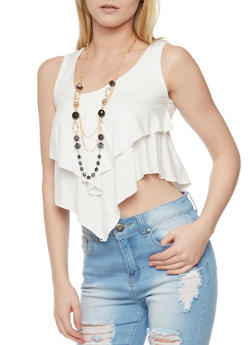 Ruffled Double Layer Crop Top with Necklace - IVORY - 1301038347116
