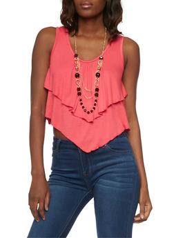 Ruffled Double Layer Crop Top with Necklace - 1301038347116